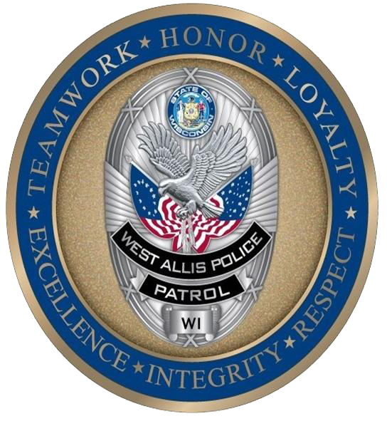 "Image File of West Allis Police Department Logo showing shield and text ""Teamwork, Honor, Loyalty"