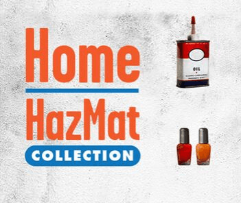 "Photograph of nail polish bottles and oil can with text overlay reading ""Home HazMat Collection&#"